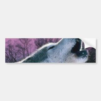 rustic purple sunset woodland wild wolf bumper sticker