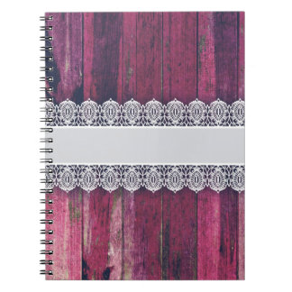 Rustic Purple Wood with Lace – Shabby Chic Style Notebook