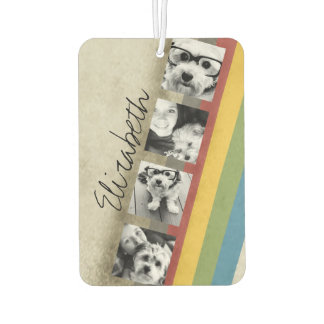 Rustic Rainbow Hipster 4 Photo Custom Collage Car Air Freshener