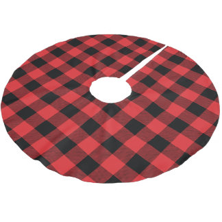 Rustic Red and Black Buffalo Check Plaid Brushed Polyester Tree Skirt
