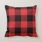 Rustic Red and Black Buffalo Check Plaid Cushion