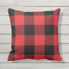 Rustic Red and Black Buffalo Check Plaid Outdoor Cushion