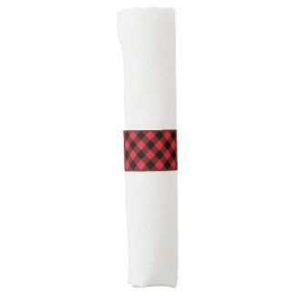 Rustic Red and Black Buffalo Plaid | Holiday Napkin Band