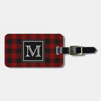 Rustic Red and Black Buffalo Plaid Monogram Luggage Tag