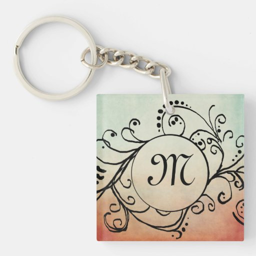Rustic Red and Blue Bohemian  Flourish Square Acrylic Keychain