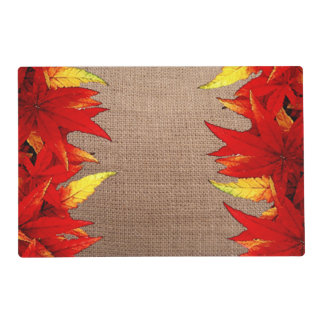 Rustic Red and Gold Autumn Leaves Laminated Placemat