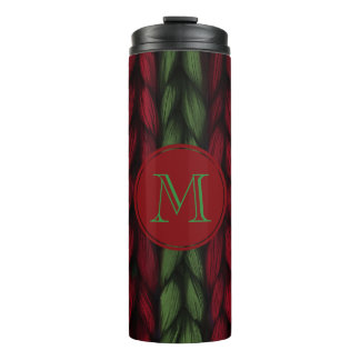 Rustic Red and Green Knit with Monogram Thermal Tumbler