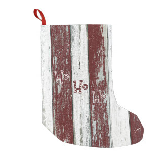 Rustic Red and White Striped Ho Ho Ho Small Christmas Stocking