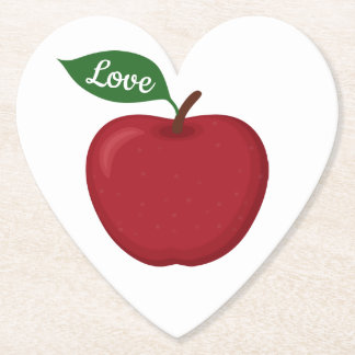 Rustic Red Apple Love Fall Country Wedding Party Paper Coaster
