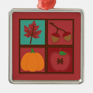 Rustic Red Autumn Leaf Acorns Pumpkin Apple Metal Ornament