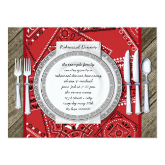 Rustic Red Bandanna and Barn Wood Rehearsal Dinner 17 Cm X 22 Cm Invitation Card