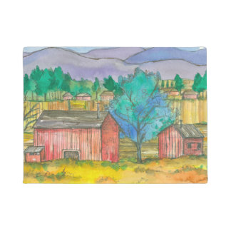 Rustic Red Barn Country Farm Doormat