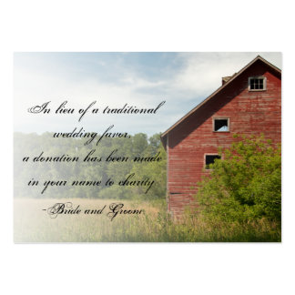 Rustic Red Barn Country Wedding Charity Favor Pack Of Chubby Business Cards