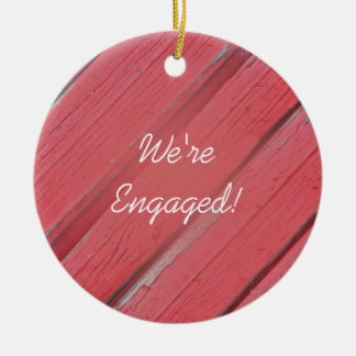 Rustic Red Barn Wood Country Engagement Ceramic Ornament