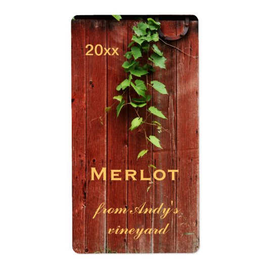 rustic red barn wooden planks with grapevine shipping label