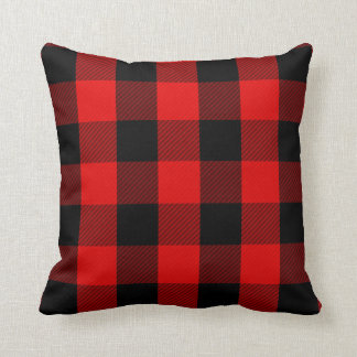 Rustic Red Black Buffalo Check | Lumberjack Plaid Cushion