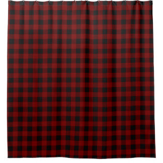 Rustic Red | Black Buffalo Check Plaid Pattern Shower Curtain