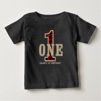 Rustic Red Black Buffalo Plaid 1st Birthday Party Baby T-Shirt