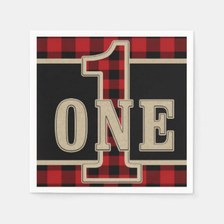 Rustic Red Black Buffalo Plaid 1st Birthday Party Disposable Serviettes