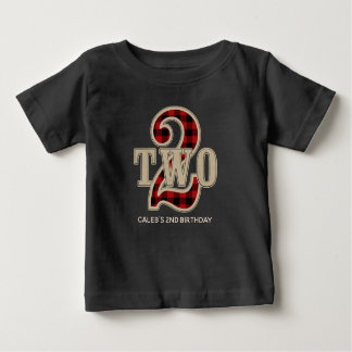 Rustic Red Black Buffalo Plaid 2nd Birthday Party Baby T-Shirt