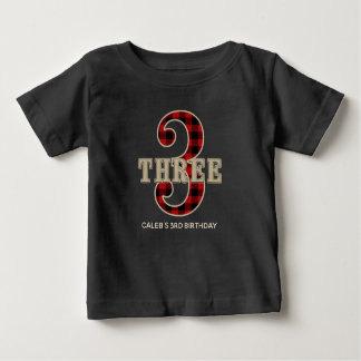 Rustic Red Black Buffalo Plaid 3rd Birthday Party Baby T-Shirt
