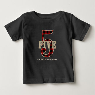Rustic Red Black Buffalo Plaid 5th Birthday Party Baby T-Shirt