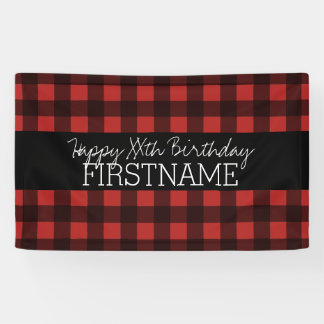 Rustic Red & Black Buffalo Plaid Birthday Party Banner