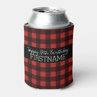 Rustic Red & Black Buffalo Plaid Birthday Party Can Cooler