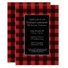 Rustic Red & Black Buffalo Plaid Birthday Party Card