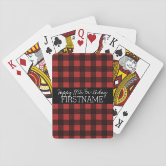 Rustic Red & Black Buffalo Plaid Birthday Party Playing Cards