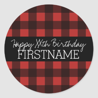 Rustic Red & Black Buffalo Plaid Birthday Party Round Sticker