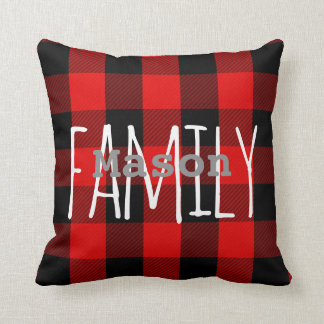 Rustic Red Black Buffalo Plaid Family Monogram Cushion