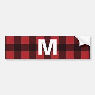 Rustic Red & Black Buffalo Plaid Pattern Monogram Bumper Sticker