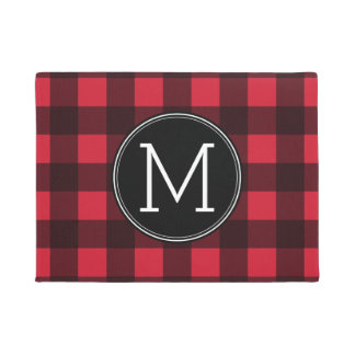 Rustic Red & Black Buffalo Plaid Pattern Monogram Doormat