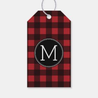 Rustic Red & Black Buffalo Plaid Pattern Monogram Gift Tags