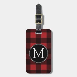 Rustic Red & Black Buffalo Plaid Pattern Monogram Luggage Tag