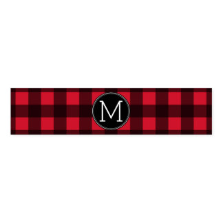 Rustic Red & Black Buffalo Plaid Pattern Monogram Napkin Band