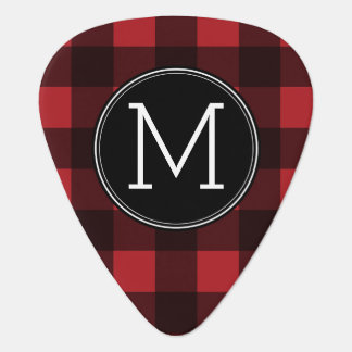Rustic Red & Black Buffalo Plaid Pattern Monogram Plectrum