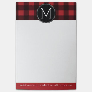 Rustic Red & Black Buffalo Plaid Pattern Monogram Post-it Notes