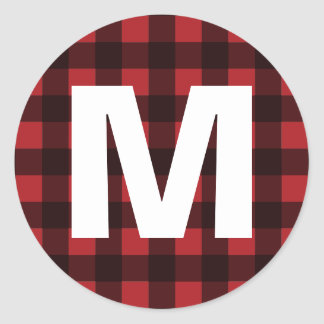 Rustic Red & Black Buffalo Plaid Pattern Monogram Round Sticker