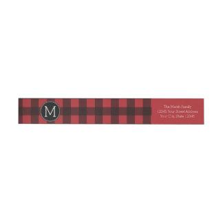 Rustic Red & Black Buffalo Plaid Pattern Monogram Wraparound Return Address Label