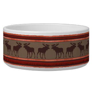 Rustic red brown moose pattern large pet bowl