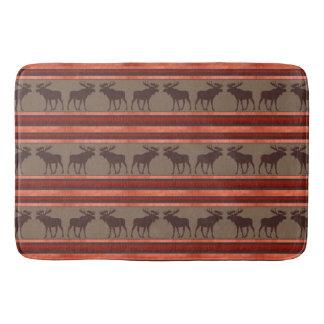 Rustic red brown moose pattern memory foam bathmat