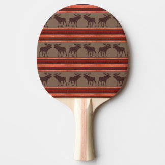 Rustic red brown moose pattern ping pong paddle