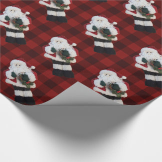 Rustic Red Buffalo Plaid Whimsical Santa Claus Wrapping Paper