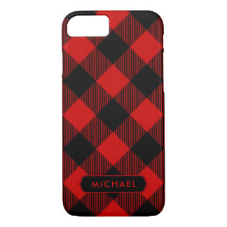 Rustic Red Buffalo Plaid with Name iPhone 8/7 Case