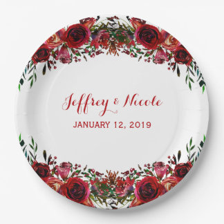 Rustic Red Floral Flowers Elegant Winter Wedding Paper Plate