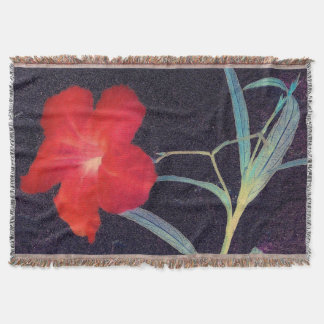 Rustic Red Flower Breeze Throw Blanket