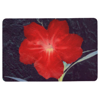 Rustic Red Flower Face Floor Mat