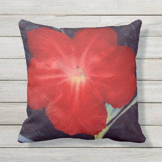 Rustic Red Flower Face Outdoor Cushion